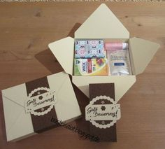 Gut gewappnet - New Ideas Stampin Up, Diy And Crafts, Paper Crafts, Envelope Punch Board, Magic Box, Wedding Bag, Present Gift, Craft Fairs, Little Gifts