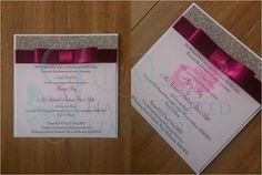 Magenta Pink post card invitation with silver glitter www.jenshandcraftedstationery.co.uk www.facebook.com/jenshandcraftedstationery