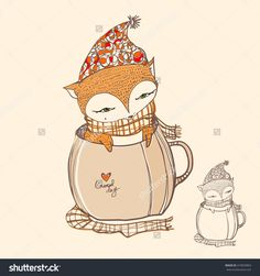Cute cartoon Fox in a coffee cup