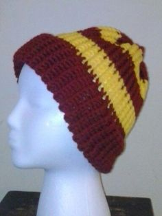 Hogwarts Inspired Knit Hats Gryfindor Hufflepuff by dreahsdesigns  Could easily  make this in Puff colors