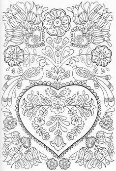 Pin By Simone Moreira Persegona On Bordado Coloring Books Coloring Book Pages, Printable Coloring Pages, Coloring Sheets, Coloring Pages For Grown Ups, Colorful Pictures, Colorful Drawings, Scandinavian Folk Art, Mandala Coloring, Zentangle