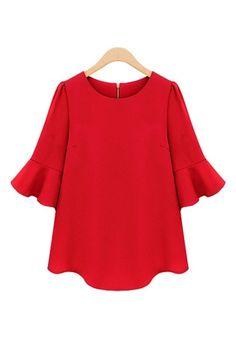 Red Three Quarter Sleeves Loose Chiffon T-shirt