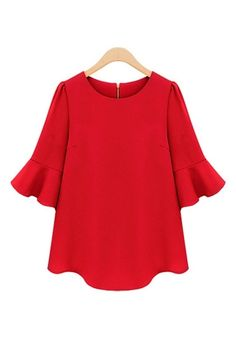 Red Three Quarter Sleeves Loose Chiffon T-shirt