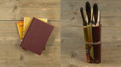 Wat kun je met oude boeken? Nou, een messenblok van maken. Altijd een plek voor je losliggende messen! Super handig. De video en het stappenplan vind je op de site!  #DIY #doityourself