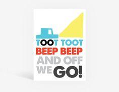 Toot Toot Printable Poster - Kids Wall Art, Boys Room, Playroom Bedroom Kids Decor, Cars, Transport, Boys Print, Kids Interior, Kids Bedroom