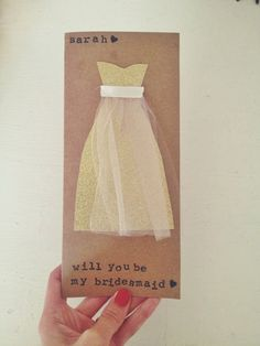 """Hand stamped """"Will you be my bridesmaid"""" cards."""