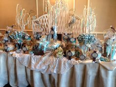 Perfectly Posh Candy Buffet Blue Brown & Cream Rustic Burlap Theme  www.perfectlyposhct.com
