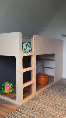 Ikea Kura hack by ondeugendespruit. Ikea Kura Hack, Ikea Hack Kids, Ikea Hacks, Kura Bed Hack, Kid Beds, Bunk Beds, Ikea Bed, Kid Spaces, Kids Decor