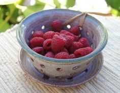 Ceramic Berry Bowl  Ceramic Colander  Strainer by bridgespottery, $35.00