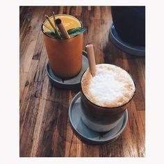 Passion fruit mango juice and iced latte <3; #balicoffee #ubud #locavore #balieats #explorebali #exploreindonesia #indonesia #vscotravel #vsco #vscocam by smashleyascencio