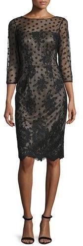 David Meister 3/4-Sleeve Polka Dot Sheath Dress