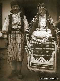 Bride and bridegroom from the Prilep province (Central Macedonia). Old Photos, Vintage Photos, Folk Costume, Costumes, Caucasus Mountains, Black Sea, Macedonia, Sorbet, Fashion History