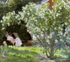 The Artist's Wife in the Garden at Skagen - Peder Severin Kroyer - Tapetit / tapetti - Photowall
