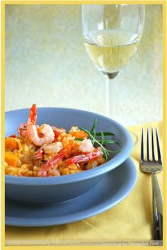 Livestrong: Pumpkin Risotto with Shrimps Shrimp Risotto, Pumpkin Risotto, Best Pumpkin, Pumpkin Recipes, Yummy Food, Meat, Chicken, Rice, Delicious Food