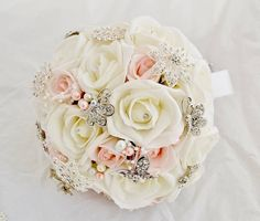 Ivory and soft pink foam rose brooch bouquet.  £70.00