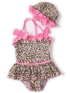 Cheetah Pink Bow Bathing Suit Set...Seriously, I don't even have a baby, but I want to buy this for my future child!