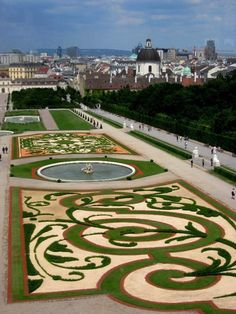 Gardens of the Belvidere - Vienna, Austria (Wien). You only get this view if you pay for entry to the Belvedere Palace. We were here in May and was too early in the season for it to be green as this photo. Nice for a hour or so walk around the gardens though.