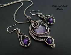 custom order silver and amethyst wire wrapped pendant and earring set / wire wrapped jewelry by Pillar of Salt Studio