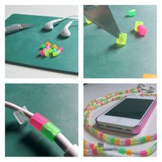 Use Hama beads to glam up earphones.