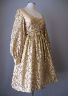 Vintage 60s Dress MALCOLM STARR Silk Metallic Small bust 37 $275 at Couture Allure Vintage Clothing