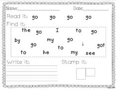 Miss Kindergarten: Sight Word Writing Practice