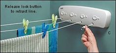 Retractable indoor clothes line! I want one in my laundry room!.