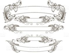 Designed by a hand engraver. Detailed leafy banners with copy space feature authentic hand engraved designs. Change color and scale easily with the enclosed EPS and AI files. Also includes hi-res JPG. Baroque Frame, Scroll Tattoos, Tattoo Banner, Tattoo Old School, Image Deco, Desenho Tattoo, Banners, Wow Art, Letter Art