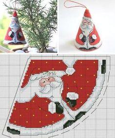 Christmas Embroidery papai noel em ponto cruz