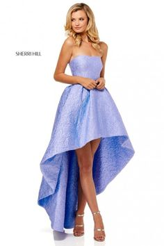 Sherri Hill 52418 is a strapless high low prom gown in a textured fabric. Sherri Hill Prom Dresses Short, High Low Prom Dresses, Trendy Dresses, Homecoming Dresses, Sexy Dresses, Blue Dresses, Short Dresses, Amazing Dresses, Formal Dresses