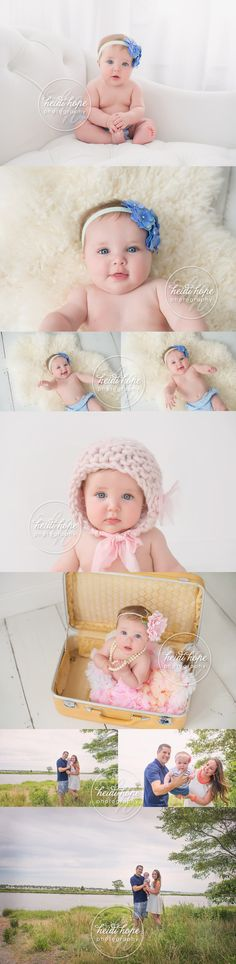 6 month old baby girl in studio and by the beach