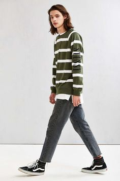 Stussy Striped Crew Neck Sweatshirt - Urban Outfitters