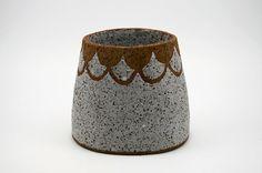 Large Scalloped Pottery Vase Ceramic Vase by susansimonini
