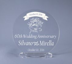 Diamond 60th Wedding Anniversary Cake Topper by MemoriesEngraving