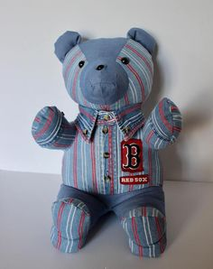Items similar to Made from loved ones clothing - Teddy Bear made from loved ones shirt - Memory Bear - personalized bear - bear made from onesie - tie bear on Etsy Crochet Projects, Sewing Projects, Serger Thread, Teddy Bear Sewing Pattern, Memory Crafts, Shirt Quilt, Memory Bears, First Love, Dinosaur Stuffed Animal