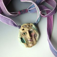 Clay Face Pendant Hand Dyed Ribbon Beadwork ... designed by CalliopeAZCreations on Etsy