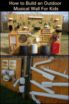 Build your kids an outdoor music wall from recycled materials!, kids play area natural materials Build your kids an outdoor music wall from recycled materials! Outdoor Learning Spaces, Kids Outdoor Play, Outdoor Play Areas, Kids Play Area, Backyard For Kids, Music For Kids, Diy For Kids, Children Music, Eyfs Outdoor Area
