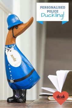Hand carved, hand painted personalised Police duckling gift. Can be personalised with the name of your choice. Another lovely gift from The Duck Company, DCUK