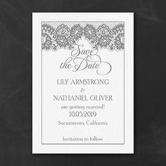 French Lace - Save the Date - White. Available at Persnickety Invitation Studio.
