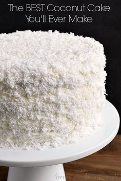 is the best coconut cake recipe I've ever made. This easy coconut cake is moist and delicious and uses fresh coconut!This is the best coconut cake recipe I've ever made. This easy coconut cake is moist and delicious and uses fresh coconut! Coconut Desserts, Coconut Recipes, Just Desserts, Dessert Recipes, Coconut Cakes, Coconut Cake Easy, Lemon Cakes, Best Coconut Cake Recipe Ever, Coconut Cake Frosting