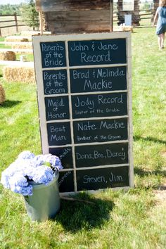 Chalkboard Wedding Program... Instead of wasting money on programs that people hardly read and throw away anyway!