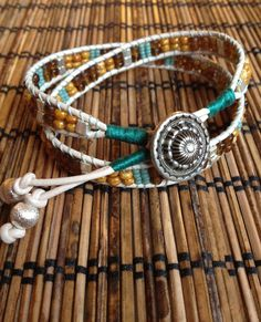 Items similar to Tribal Wrap Bracelet - Antique - Yoga Ladder Bracelet - Beaded Bracelet on Etsy Bff Bracelets, Surfer Bracelets, Beaded Bracelets, Leather Jewelry, Beaded Jewelry, Leather Bracelets, Bracelet Making, Jewelry Making, Rustic Jewelry