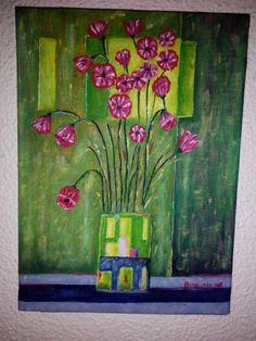 Flores en un jarrón. Óleo pintado en 2007.