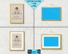 8x12 #W09 Fine Gold Portrait & Landscape Frames on Brick Interior wall, 4 Print Display Mockups, PNG PSD PSE, Opening 20x30cm, Custom colors