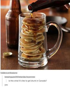 *Bacon and beer mancakes for breakfast! Nothing says manly-man food like a meal made of beer, bacon and pancakes. Stir candied bacon and your favorite beer into Bisquick to make these larger-than-life mancakes. Breakfast And Brunch, Breakfast Recipes, Birthday Breakfast, Bacon Breakfast, Breakfast Ideas, Breakfast Pancakes, Health Breakfast, Sunday Brunch, Anniversary Breakfast