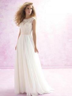 Robes de mariée en mousseline applique brillant et glamour col bateau pas cher