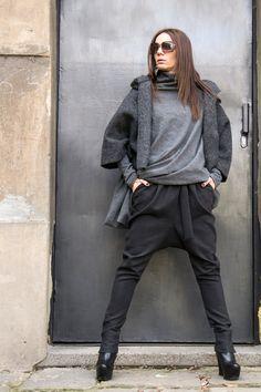 Charcoal Drop Crotch Pants / Extravagant Dark Grey Trousers
