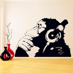Monkey With Headphone Banksy Wall Decal