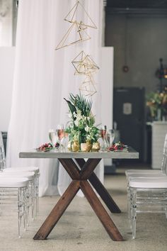 modern reception - photo by Echard Wheeler Photography http://ruffledblog.com/modern-styled-engagement-party