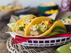 Buttermilk Fried Tofu Tacos with Jalapeno Lime Yogurt Cabbage Slaw Snixy Kitchen Healthy Recipes On A Budget, Vegetarian Recipes Dinner, Tofu Recipes, Mexican Food Recipes, Ethnic Recipes, Dinner Recipes, Vegetarian Times, Citrus Recipes, Kid Recipes