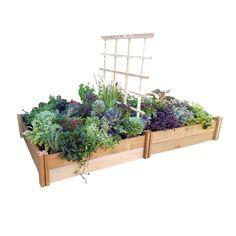 48 in. x 96 in. x 13 in. Deluxe Modular Raised Garden Bed with Trellis, Natural